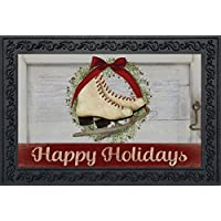 Happy Holiday Skates Doormat Christmas Indoor Outdoor 18 x 30 [並行輸入品]