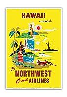 ハワイ - ノースウエスト・オリエント航空 - ビンテージなハワイの旅行のポスター c.1960s - アートポスター - 23cm x 31cm