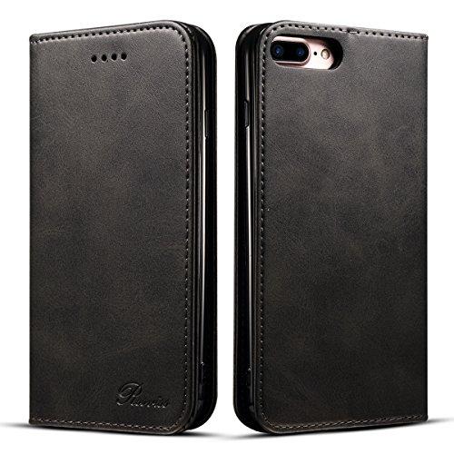 iphone7 plus ケース iphone8 プラス 手帳型 Rssviss カードホルダー スタンド機能 軽量 高級 手帳 財布型 合皮レザー 手作り レザーケース マグネット 人気 カード収納 TPU カードポケット アイフォン 7 8 プラス ケース カバー ブラック