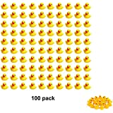 SOHAPY 100Pcs Mini Yellow Rubber Ducks Baby Shower Rubber Ducks, Squeak Fun Baby Yellow Rubber Bath Toy Float Fun Decorations for Shower Birthday Party Favors Gift (100Pcs)