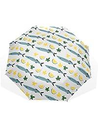 ユキオ(UKIO) 折りたたみ傘 レディース 晴雨兼用 高密度 遮光 手動 遮熱 飛び跳ね防止 梅雨対策 雨傘 日傘 軽量 防風 頑丈 イワシ レモン 収納ケース付