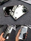 TOP FILM iphone7 4.7インチ 衝撃保護ガラスフィルム 液晶保護フィルム 鏡面ミラーキラキラ光るバックプレート前後鏡面ガラスフィルム 前後セット 0.26mm 表面硬度9H (iPhone 7, シルバー)