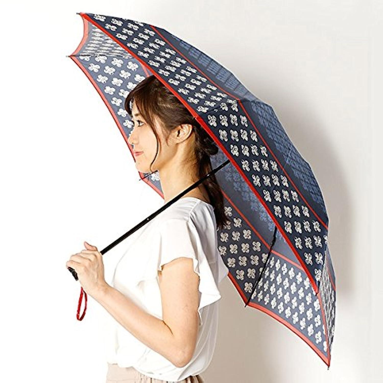 ビバユー(雑貨)(VIVA YOU) 雨傘(折りたたみ傘/3段/ミニ傘)花柄/レース柄(婦人/レディース)【74ネイビー/**】