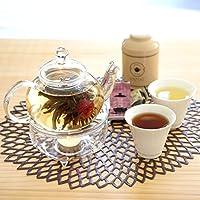 温on茶セット ウォーマー付きガラスポット 烏龍茶 (ブラウン茶缶)(誕生日)
