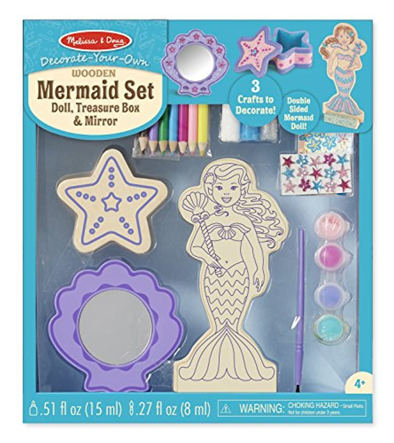 Melissa & Doug decorate-your-own木製Mermaid人形クラフトキット