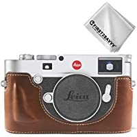 FIRST2SAVVV ダークブラウン ライカ Leica M10 専用 PU 半分レザー レフ カメラバッグ カメラケース +クリーニングクロス XJPT-Leica M10-D10