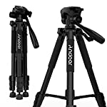 Andoer 4段三脚 小型 3WAY雲台 カメラビデオ三脚 レバー式 水準器 付き軽量 コンパクト ブラック エディション Canon Nikon Sony Panasonic カメラ&ビデオカメラ用