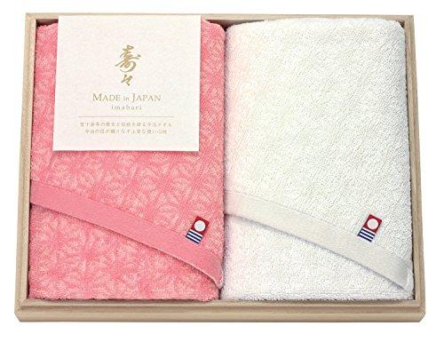寿々 愛媛今治 木箱入り紅白タオルセット ホワイト・ピンク 60320(2枚組)