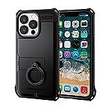 エレコム iPhone 13 Pro 3眼 ハイブリッドケース ZEROSHOCK リング付き ブラック PM-A21CZERORBK