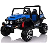 Golf Cart Style Electric Ride On Car 24V Battery 2 Seats 2.4G Remote Blue