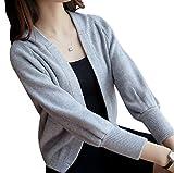 (スカイシイ) skySea カーディガン フード付き 薄手 リブ シンプル ショート丈 レディース 白 灰 M L XL (L, 灰)