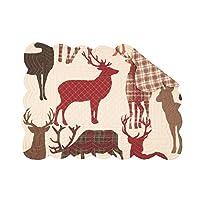 Colton Reindeer ロージーレッド 19 x 13 コットン生地 クリスマスプレースマット 4枚パック