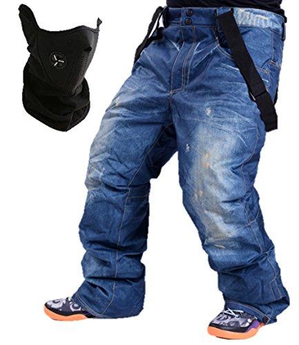 [해외](K-JOY) 데님 바람 스노우 보드 팬츠 (페이스 마스크 세트) 방수 멜빵 등산 눈에웨어 F285/(K-JOY) denim-style Ski Snowboard Pants (face mask set) waterproof suspenders climbing snow Clothing F285