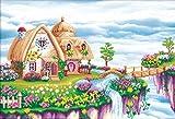 【ノーブランド品】 クロスステッチ 刺繍キット 3D立体 部屋飾り 図柄印刷 抜きキャンバスセット 刺繍 手芸 (ミニログハウス2)