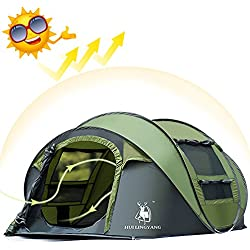 Camping Tents 3-4 Person Easy Up Instant Dome Tents, AYAMAYA-AU Camping Gear Waterproof [2 Doors] Privacy Automatic Pop Up Big Family Tent Shelter with Carry Bag for Backpacking Beach Picnic Mothers Day Gifts