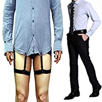 Yohoo 1 Pair Man's Adjustable Shirt Stays with Clip Non-slip Elastic Belts for Normal Clothes White-collar Suit Wrinkle Resistant Anti-slip Clamp Thigh Ring Garter