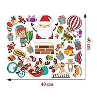 Juanong 子供の部屋のキャビネットの窓の装飾48x40cmのためのポリ塩化ビニールの自己接着漫画の壁のステッカーのクリスマスの壁画