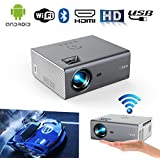 New Portable Mini Projector WiFi Bluetooth Home Theater Outdoor HD Movie Gaming Video Projector Support Airplay 1080P HD HDMI USB Android AV VGA Audio for TV Stick/Iphone/Smartphone/PC/Laptop/PS4/DVD