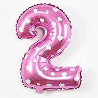 40cm ちょうどいいサイズ バルーン 水玉ピンク 数字 風船  逆支弁付き 空気が漏れない ベストサイズ  フィルムバルーン ピンク (ピンクの2, ピンク)