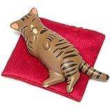 ペットラバーズ まんぷく笑み猫 キジトラ 座布団付 置物 CA-2009