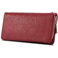 Kattee Soft Cow Leather Wallet Ladies Flower-embossed Clutch
