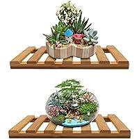 フローティング壁シェルフ、頑丈竹モダンフローティングシェルフストレージのバスルームの装飾、overベッド、オフィス、Nightstand Includingハードウェアキット(セットof 2 ) bamboo wall shelf