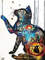 LovetheFamily 不思議な动物、抽象的な猫 数字キットによる絵画 数字油絵 数字キット塗り絵 手塗り DIY絵 デジタル油絵 ホーム オフィス装飾 (40x50cm, フレームレス)