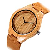 Cucol(クコル)木製腕時計 ウッドウォッチ 本革バンド 高級ブランド腕時計 木製竹の木 の人気高い美しい画像彫刻クロック (MN6050)