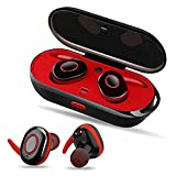 PZX Bluetooth イヤホン 高音質 充電収納ボックス 片耳 両耳とも ワンボタン設計 ハンズフリー通話 ワイヤレス イヤホン iPhone Android対応 (レッド)