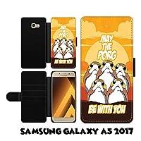 Samsung Galaxy A5 A520 2017 ケース Star Wars Porg May The Porg Be With You ファンアート ボタン マグネット式 落下防止 衝撃吸収 財布型 ケース カバー スタイリッシュ 横置き 耐衝撃 傷つけ防止