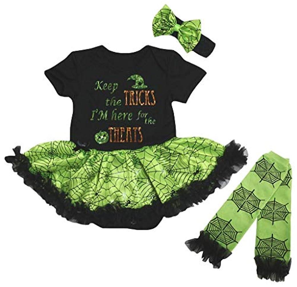 徒歩でマット不毛[キッズコーナー] ハロウィン Keep The Tricks ブラック グリーン コブウェブ 子供ボディスーツ、子供のチュチュ、ベビー服、女の子のワンピースドレス レッグウォーマー セット Nb-18m (ブラック, X-Large) [並行輸入品]