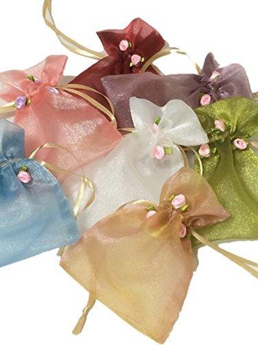 上質 お花 付き オーガンジー 巾着 袋 ラッピング 小物 収納 選べる カラー (9.アソート 7色 L)