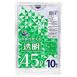 日本技研工業 ゴミ袋 透明 45L 厚み0.03mm 伸びやすく裂けにくい 中身が見える 〔ケース販売〕 TN-2B 10枚入 30個セット