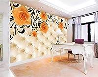Bzbhart 3D壁紙壁画シルク 壁画の壁紙ステッカーローズ テレビの設定の壁の 壁の壁画-200cmx140cm