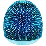 ASAKUKI 3D Glass Essential Oil Diffuser, 200ml Aromatherapy Ultrasonic Humidifier, Auto Shut -Off With 7 Color LED Lights Changing, Beautiful Nightlight