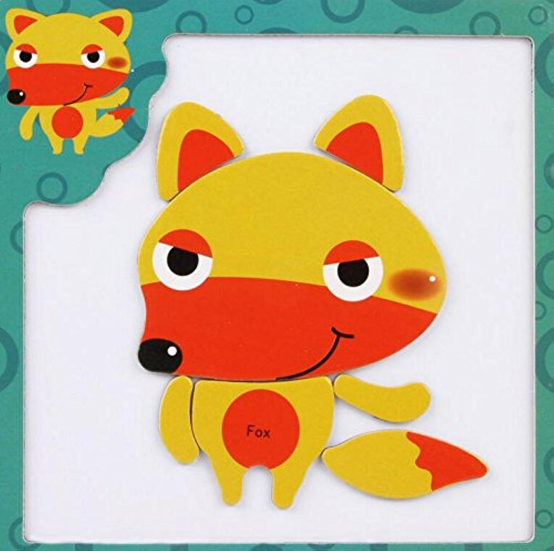 HuaQingPiJu-JP 創造的な教育的な磁気パズルアーリーラーニング番号形状色の動物のおもちゃ子供のための素晴らしいギフト(フォックス)