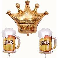BESTOYARD パーティーフォイルバルーンクラウンとビールカップパターンバルーンバースデーパーティフェスティバルデコレーション(ビールカップ* 2とクラウン* 1)