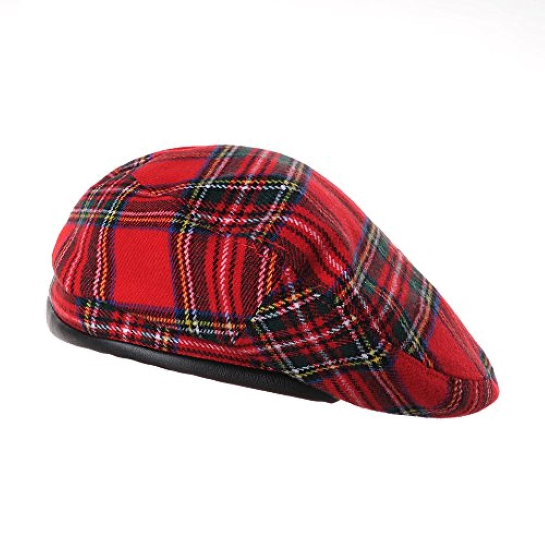 WITHMOONSベレー帽ウル ベレーハット タータン チェック レザー スウェットバンド ベレーハッツ フォーレーディスKR9539