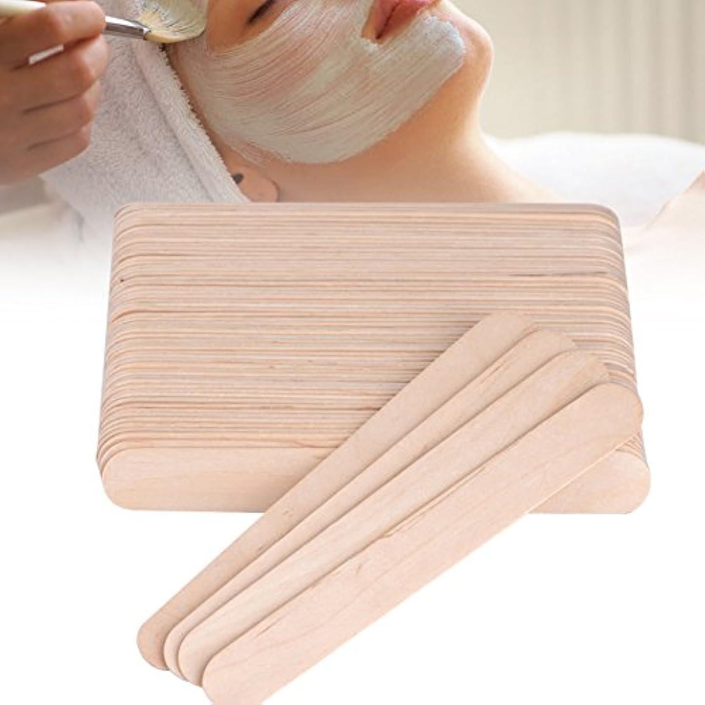 差反動うま舌圧子ワックススティックスパチュラアプリケーター木製スパチュラ使い捨て業務用木製 100PCS /バッグ