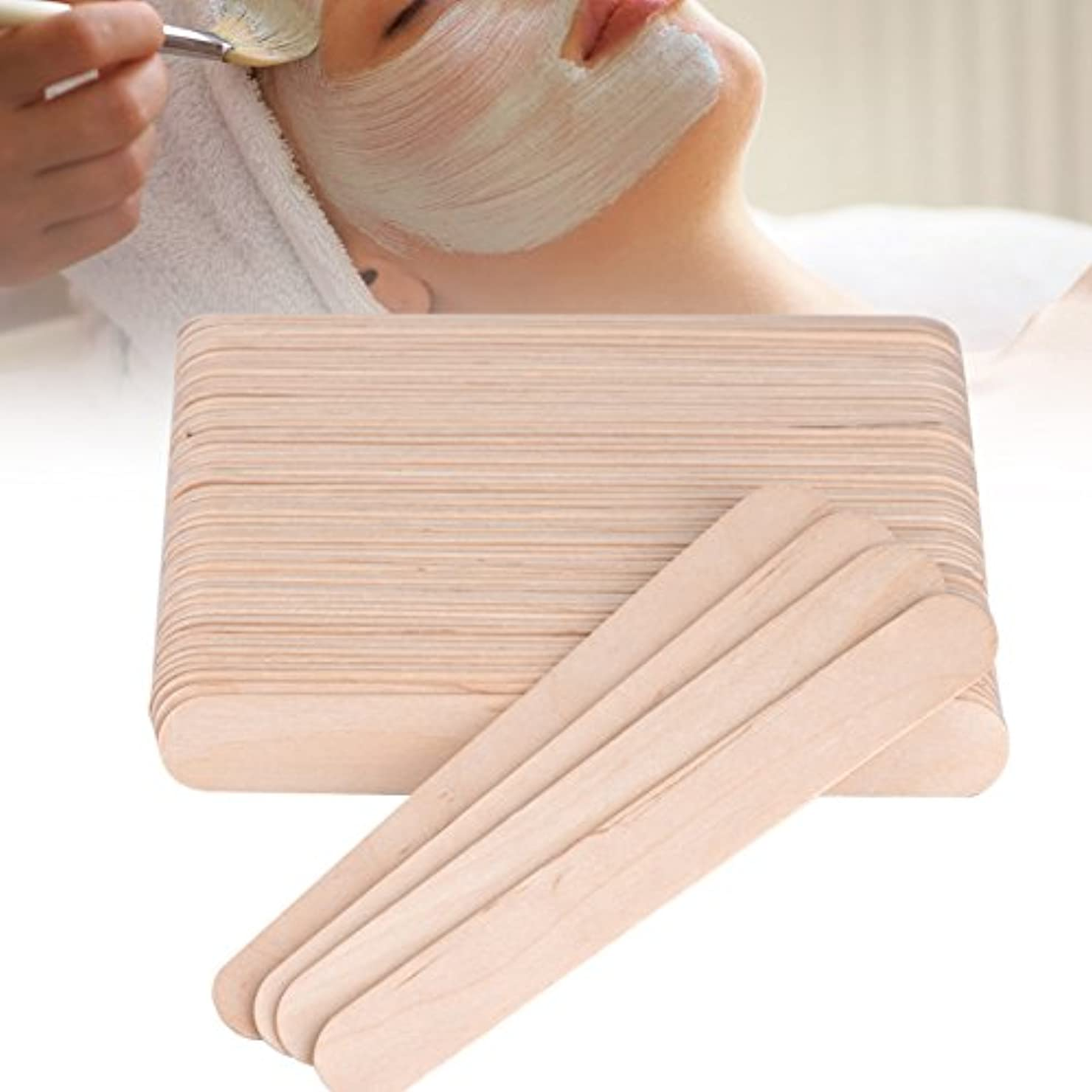 安心いたずらな用心深い舌圧子ワックススティックスパチュラアプリケーター木製スパチュラ使い捨て業務用木製 100PCS /バッグ