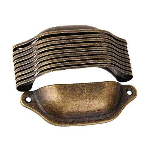 Yiteng 取っ手 アンティーク 真鍮 扉 キャビネット ノブ 引き出し シェル プル ハンドル カップ 10個入り
