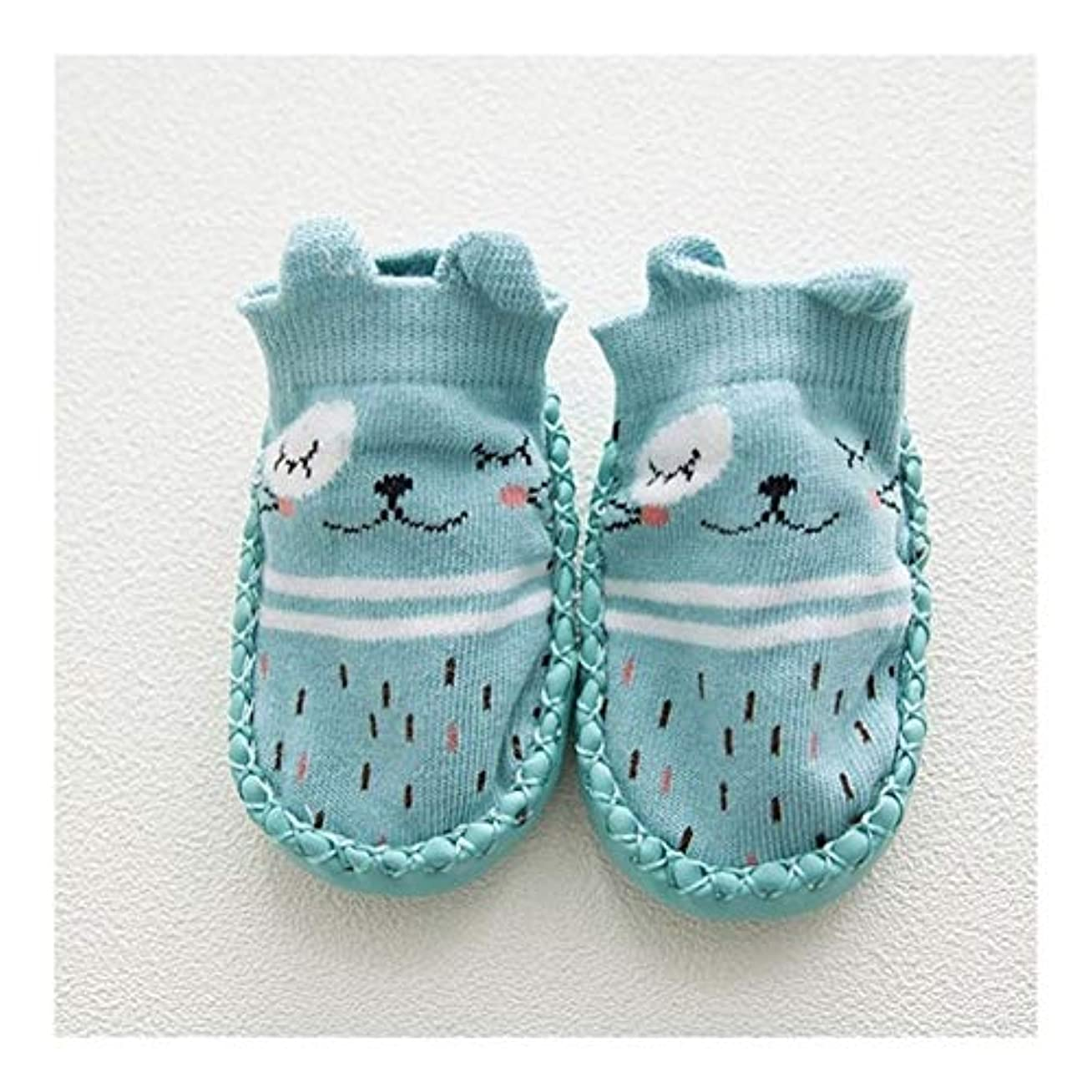 飾るうめき識別ベビーソックスソール 子供フロアソックスアンチスリップのために赤ちゃんのゴム靴底の漫画動物の耳新生児ソックススリッパのためのベビーソックス (Color : Navy blue, サイズ : 6M)
