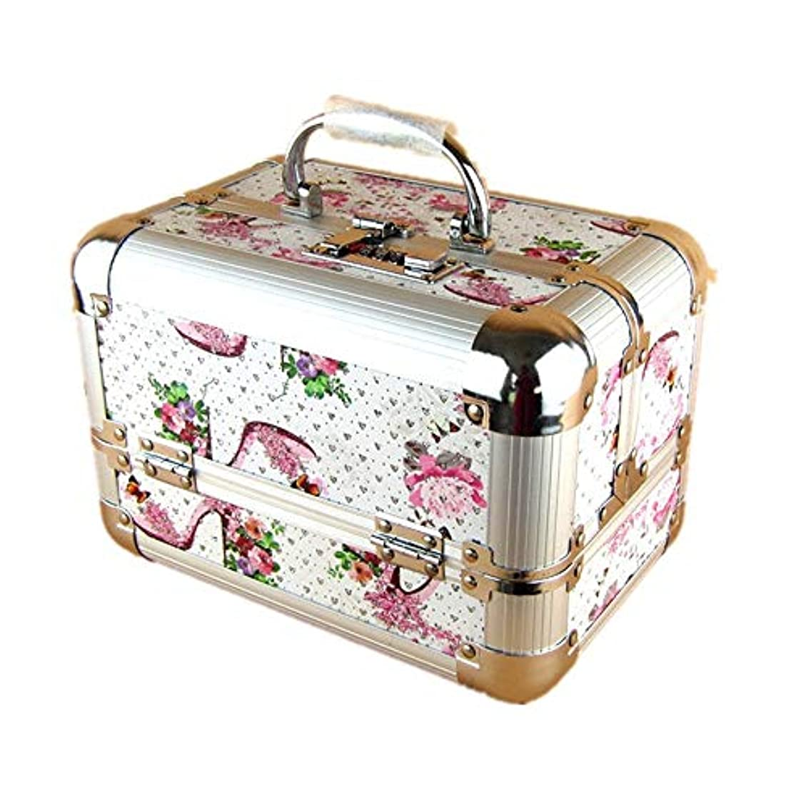 呼吸する白い安定した化粧オーガナイザーバッグ 美容メイクアップと女性の女性のためのポータブルメイクトレインケースロックと折り畳みトレイとアルミフレームと日常のストレージ 化粧品ケース