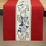 QY テーブルランナー コットンとリネン 刺繍 テーブルランナー 禅茶 テーブルフラグ 中国語 現代の 単純な 布 茶旗 禅 テーブルクロス テレビキャビネット コーヒーテーブルマット QY テーブルランナー (Color : T6, Size : 30*360CM)