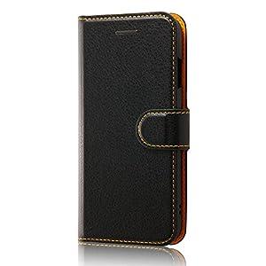 レイ・アウト iPhone7 ケース 手帳型 ケース シンプル マグネット (カード収納×3 / スタンド機能) ブラック/オレンジ RT-P12ELC1/BOR