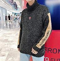 AOZUOメンズ ニットセーター 秋 冬 長袖 ファッション トップス ニット タートルネック 厚手 ゆったり かっこいい 韓国風 上着 おしゃれ 柔らかい (M, ブラック)