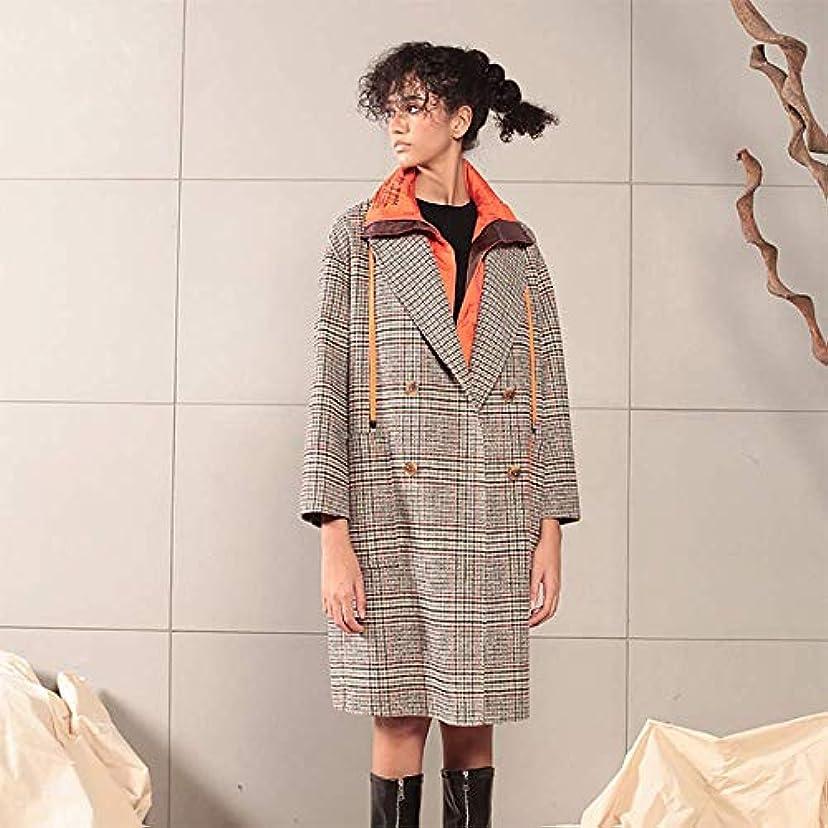 面積経験的ディレイ英国のコート、秋と冬の新しいコート両面ウールコートダウンステッチ英国の格子縞のウールコート,グレー,S