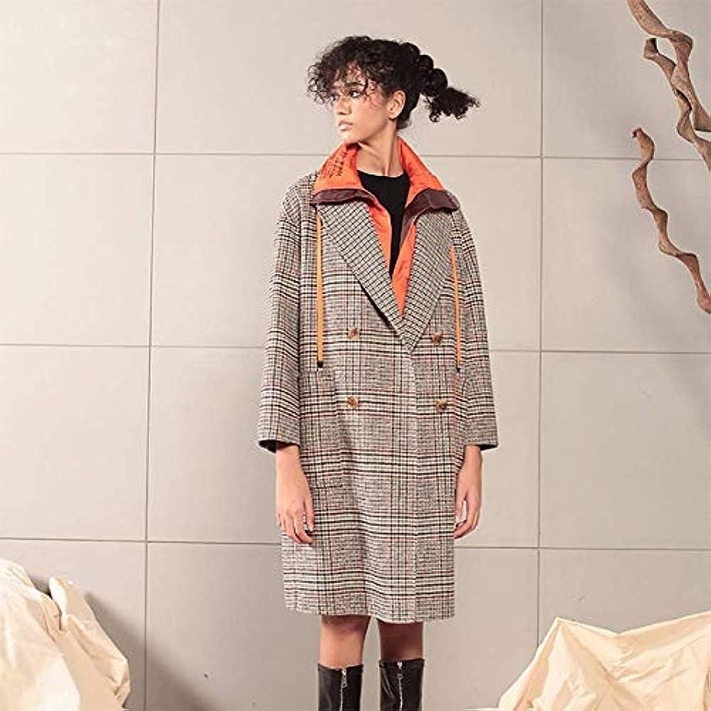 理論的ブローホール有益な英国のコート、秋と冬の新しいコート両面ウールコートダウンステッチ英国の格子縞のウールコート,グレー,S