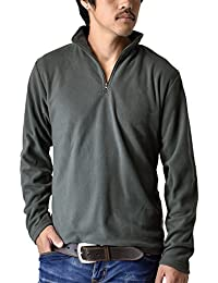 (アルージェ) ARUGE マイクロフリース ハーフジップ ニット セーター 裏起毛 長袖 厚手Tシャツ メンズ おしゃれ / B9X