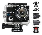 WIMIUS 4K アクションカメラ WIFI 防水 リモコン付き 2.0インチ液晶 1600万画素 高画質 ウェアラブルカメラ ドライブレコーダー (ブラック)